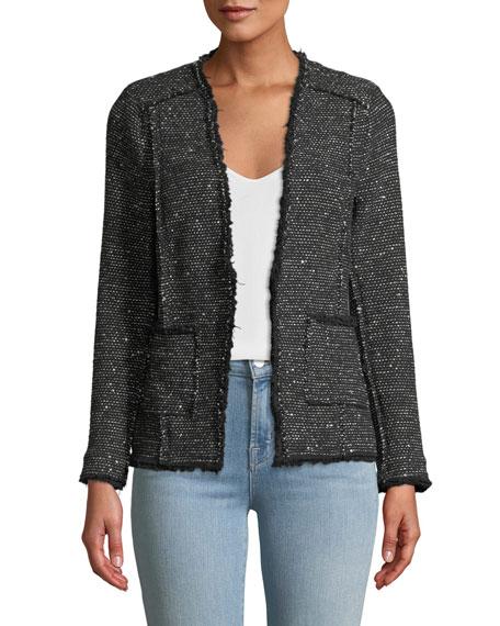 Rebecca Taylor Sparkle Stretch Tweed Jacket w/ Frayed