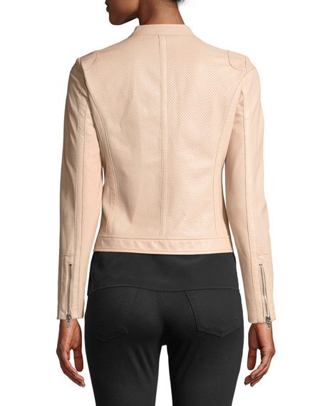Perforated Zip-Front Leather Jacket