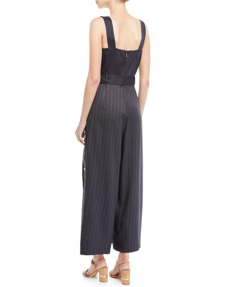 Striped Sleeveless Belted Jumpsuit w/ Side Buttons