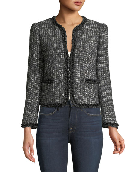 Short Tweed Jacket w/ Ruffle Trim