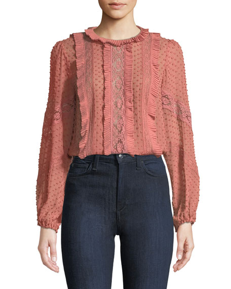 Spliced Lace Embroidered Silk Blouse