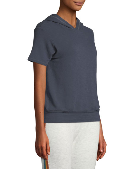 Hooded Short-Sleeve Soft Cotton-Blend Pullover