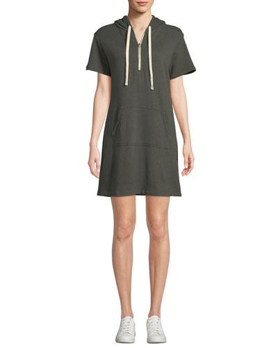 Star-Print Hood Short-Sleeve Sweatshirt Dress