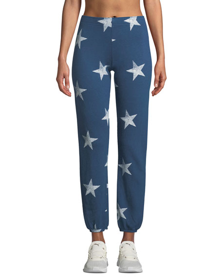 Star-Print Elastic-Waist Sweatpants
