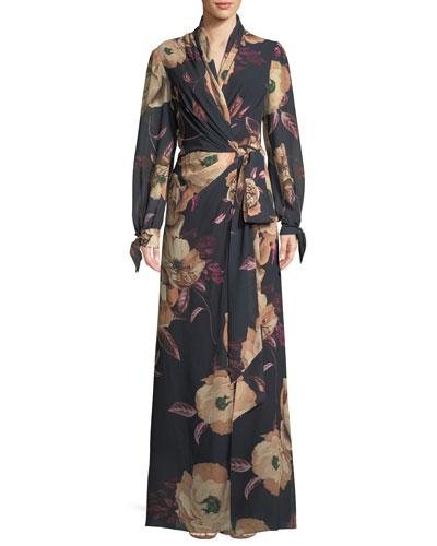 Mariposa Long Wrap Dress in Floral Print