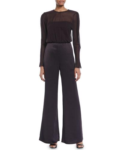 Henderson Sheer Long-Sleeve Jumpsuit
