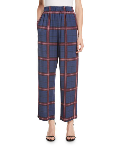 Alaine Pull-On Trousers in Plaid