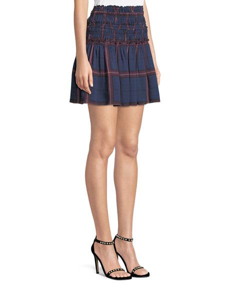 Alaine Smocked Plaid Mini Skirt