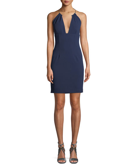 Scuba Crepe Halter Cocktail Dress w/ Wire Necklace