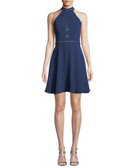 Crepe & Lace Mini Dress w/ Open Back