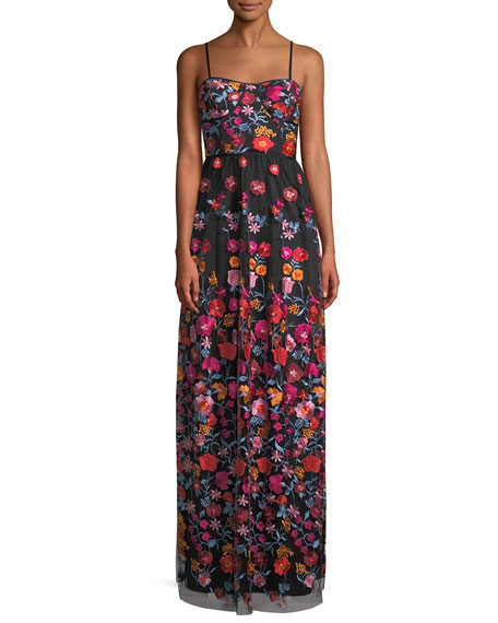 Sleeveless Gown w/ Floral Embroidery