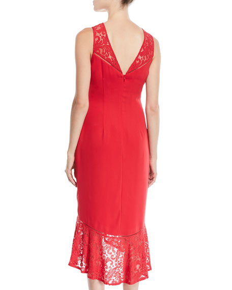 Sleeveless Crepe & Lace Midi Cocktail Dress