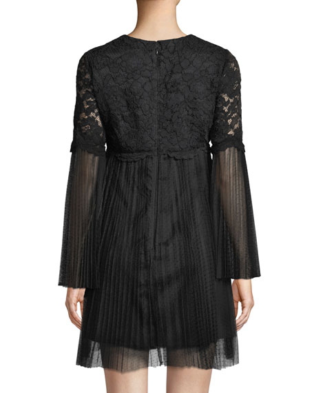 Long-Sleeve Lace & Point d'Esprit Dress