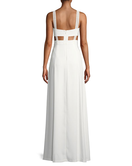 Crepe & Lace Sleeveless Gown