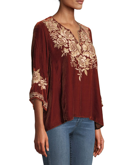 Ollena Floral-Embroidered Velvet Top