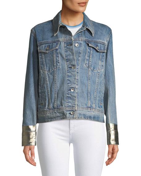 Oversized Denim Jacket w/ Metallic Cuffs