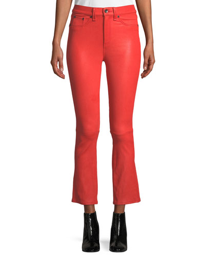 Hana Cropped Leather Boot-Cut Pants