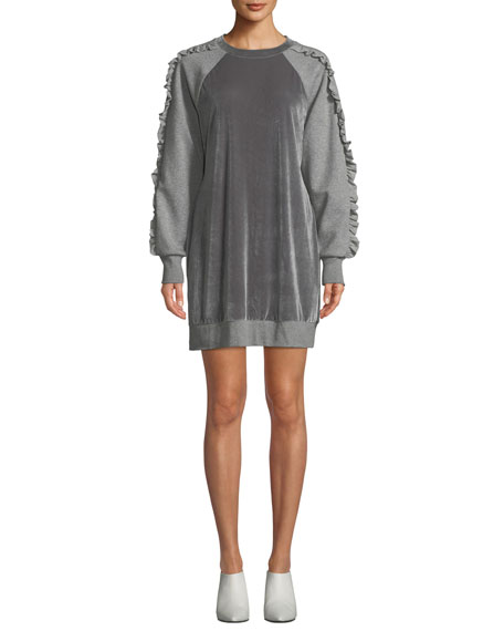 Elie Tahari Destine Crewneck Velvet Combo Knit Dress