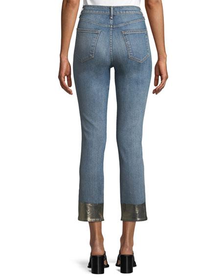 Ankle Cigarette Jeans w/ Metallic Hem