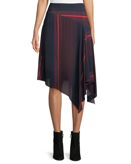Moni Striped Asymmetric Midi Skirt