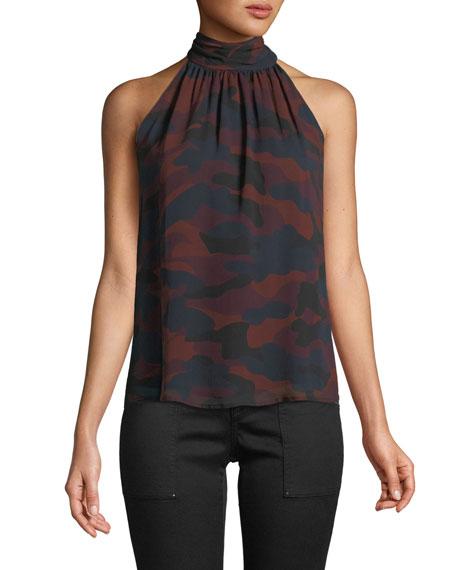 Erola B Sleeveless Camo-Print Silk Top