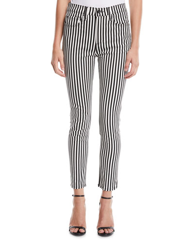 Striped High-Rise Ankle Skinny Jeans