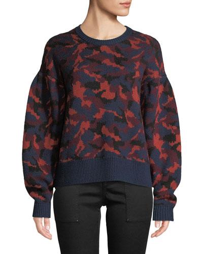 Brycen Camo Wool Crewneck Sweater