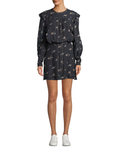 Joie Owena Long-Sleeve Floral Blouson Dress