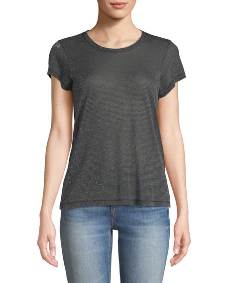 rag & bone/JEAN Dawson Crewneck Short-Sleeve Metallic Jersey