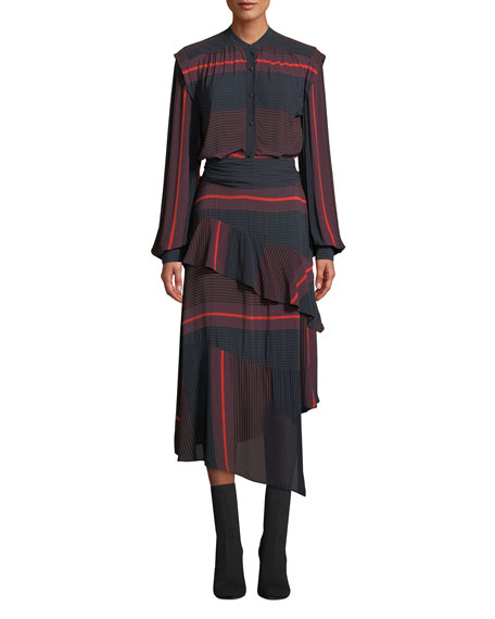 Joie Roz Striped Long-Sleeve Ruffle Dress