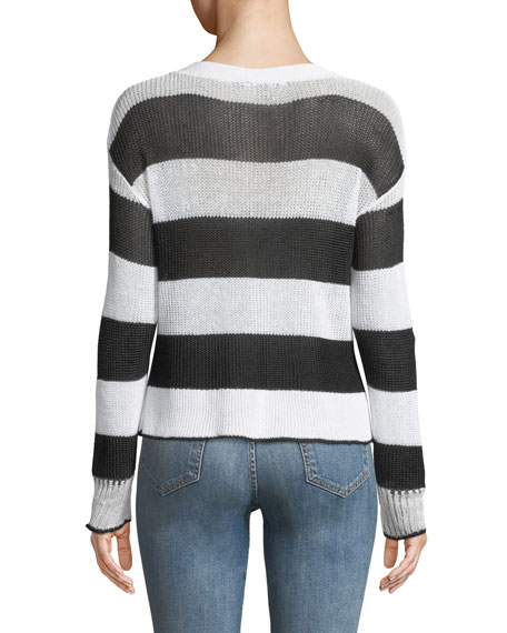 Allie Striped Boat-Neck Sweater