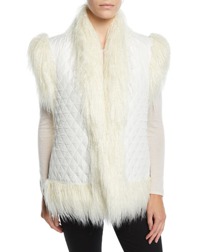 Reversible Quilted Shaggy Faux-Fur Vest