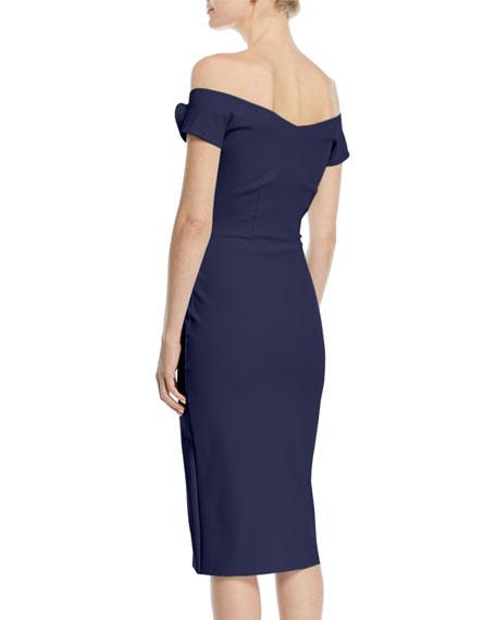 Kajsa Rose-Sleeve Off-the-Shoulder Cocktail Dress