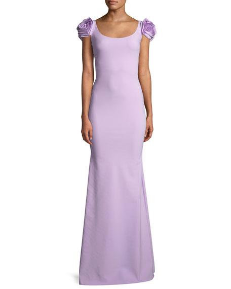 Merijeme Rose-Sleeve Mermaid Gown