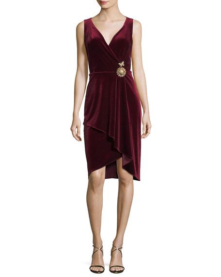 Kailey Surplice Sleeveless Velvet Cocktail Dress w/ Embellishment