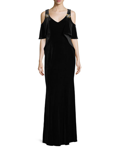 Kobi Halperin Aven V-Neck Cold-Shoulder Velvet Evening Gown