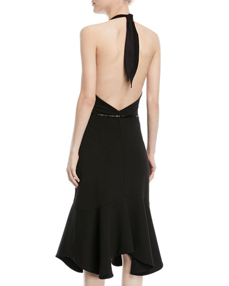 Halter Flounce Dress w/ Embellished Waist
