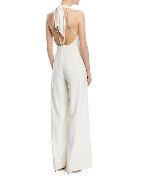 Sleeveless Halter Jumpsuit w/ Strappy Back