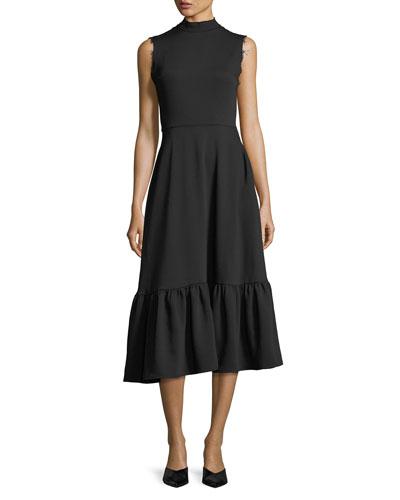 Bridget Mock-Neck Sleeveless Midi Dress