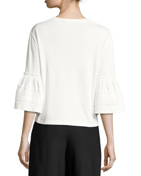 Crewneck Bell-Sleeve Cotton Top