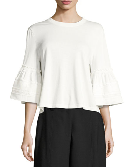 See by Chloe Crewneck Bell-Sleeve Cotton Top