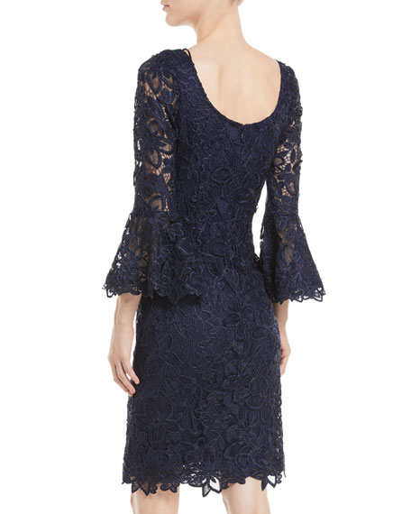 Bell-Sleeve Sheath Cocktail Dress in Lace