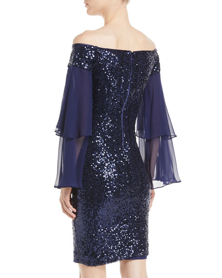 Off-the-Shoulder Sequin Dress w/ Doubled Sleeves