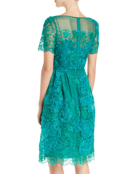 Short-Sleeve Dress w/ Floral Embroidery