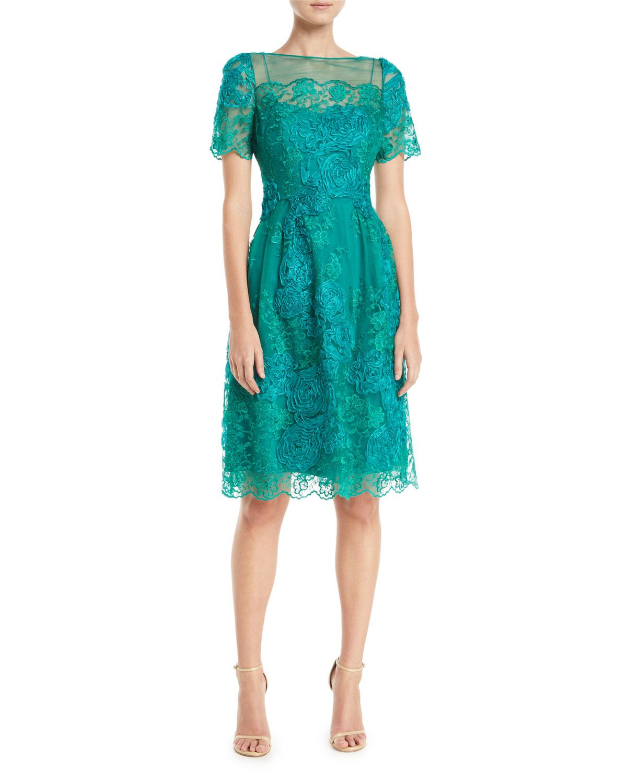 da83d71ab0 Rickie Freeman for Teri Jon Short-Sleeve Dress w  Floral Embroidery ...