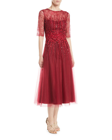 Tulle A-Line Dress w/ Beading