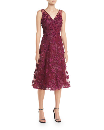 Tulle Tea-Length Dress w/ Floral Appliqués