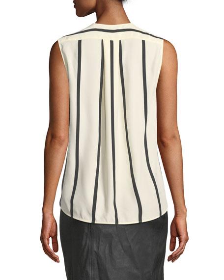Victor Sleeveless Striped Draped Silk Blouse