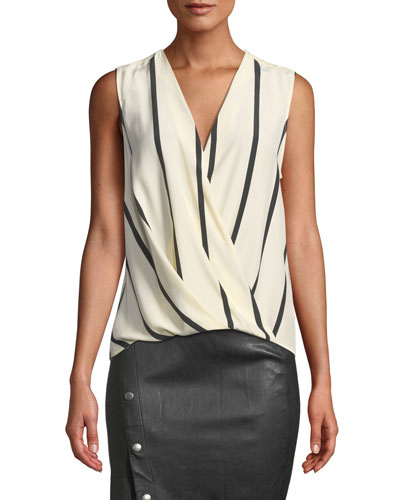 Victor Sleeveless Striped Draped Silk Blouse