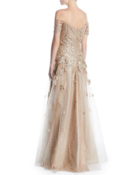 Rene Ruiz Off-the-Shoulder Gown w/ Tulle & Floral Applique